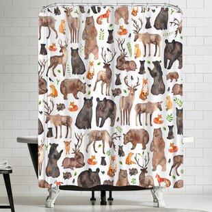 Elena Oneill Woodland Animals Shower Curtain