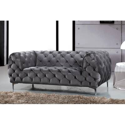 Yuliya Leather Chesterfield Sofa Joss Main