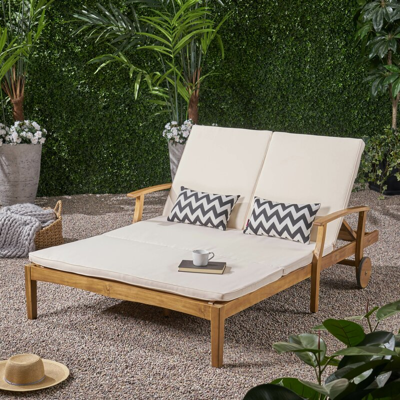 Mistana Antonia Double Reclining Teak Chaise Lounge With Cushion