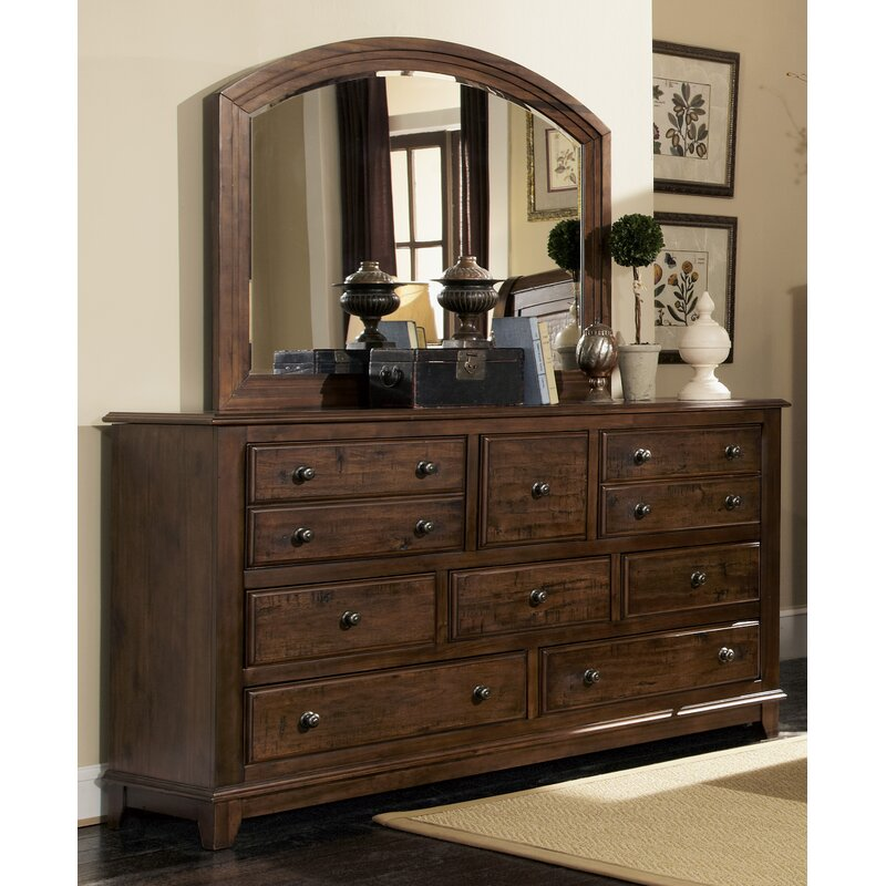 Millwood Pines Lando 8 Drawer Dresser With Mirror Reviews Wayfair