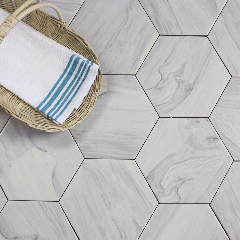Wood Hexagon 8 X Ceramic Look Tile