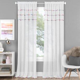 pom pom blackout curtains nursery zosia pom solid rod pocket single curtain panel blackout wayfair