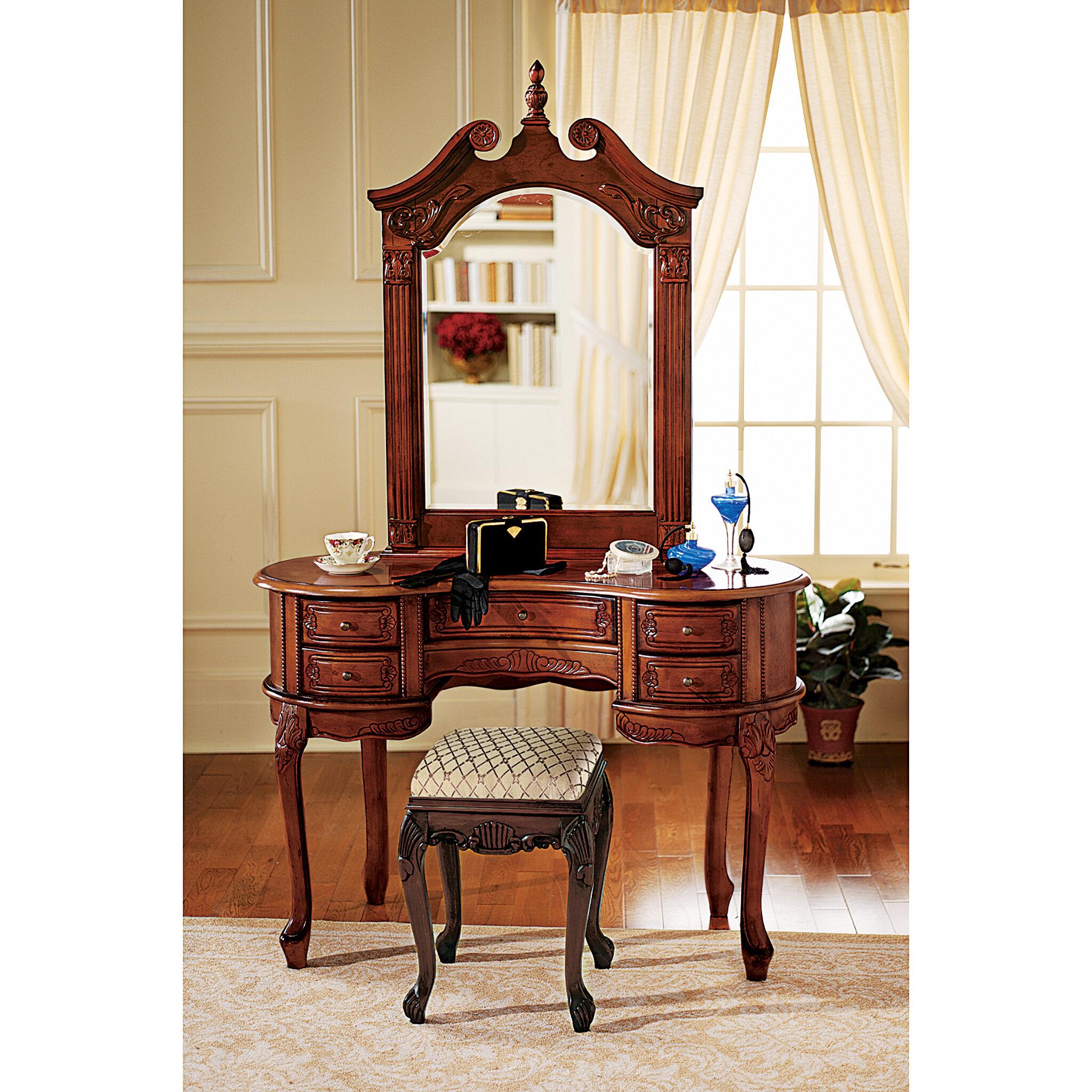 Design Toscano Queen Anne Vanity With Mirror U0026 Reviews | Wayfair