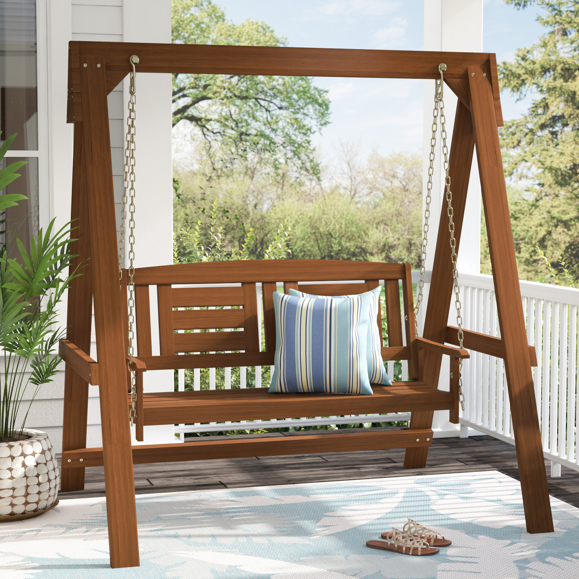 Langley Street Arianna Hardwood Hanging Porch Swing With Stand Reviews Wayfair