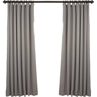 Alcott Hill Aldreda Extra Wide Solid Blackout Thermal Rod Pocket Single Curtain Panel Size per Panel: 96 L x 100 W, Color: Neutral Grey