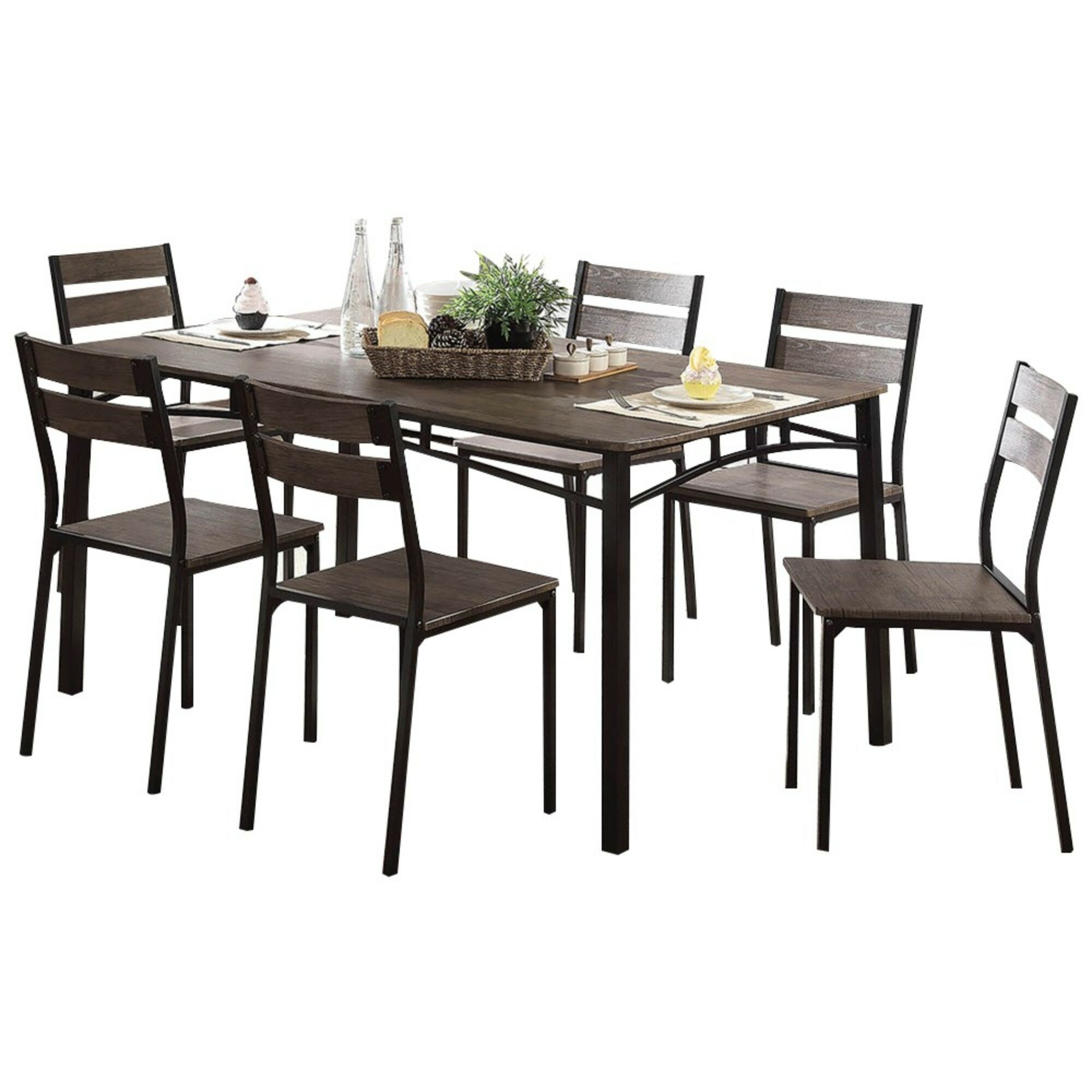 Union Rustic Brockway Wooden 7 Piece Counter Height Dining Table Set