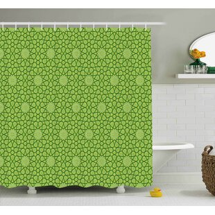 Kimberly Modern Leather Like Natural Contemporary Image With Stars Geometric Shapes Artwork Shower Curtain