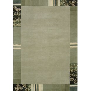 Harmony Handwoven Wool Green Rug by Theko