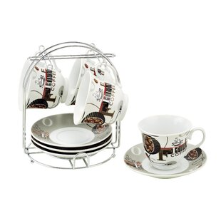 Coffee Cups On Metal Stand Bean Set Of 4