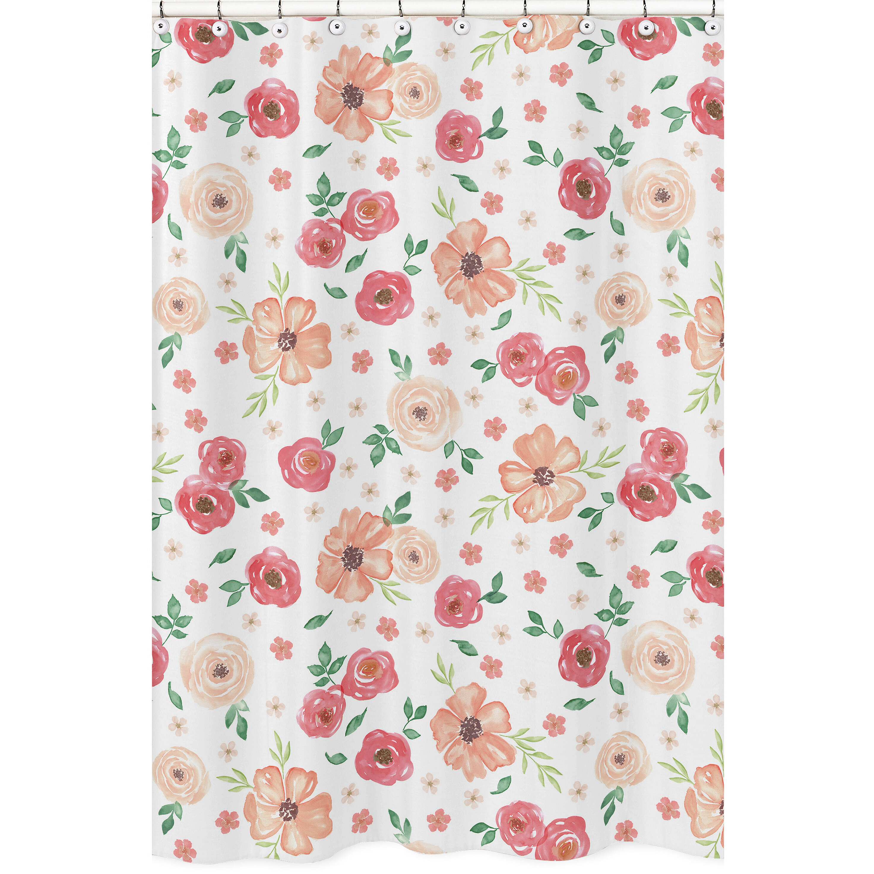 Sweet Jojo Designs Watercolor Floral Shower Curtain