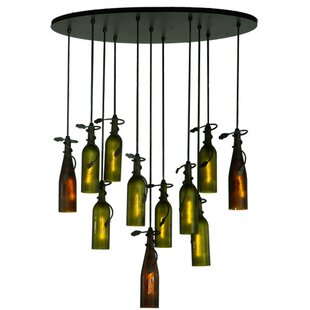 Wine bottle pendant light wayfair personalized thirsty owl wine bottle 11 light pendant aloadofball Image collections
