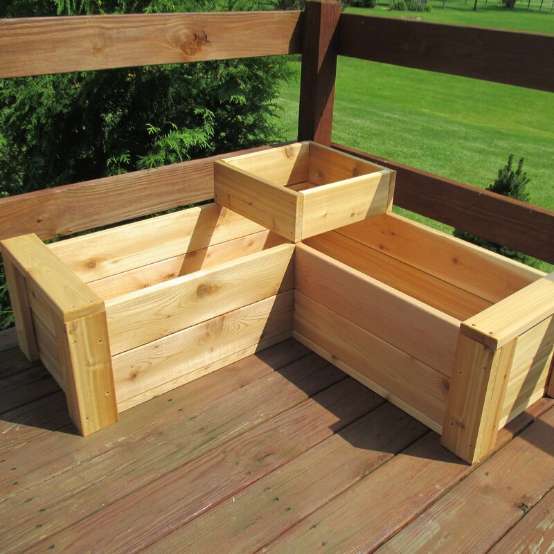 Large Corner L Shaped Wooden Garden Planter Box Trough: August Grove Gunderson L-Shaped Multi-level Cedar Planter