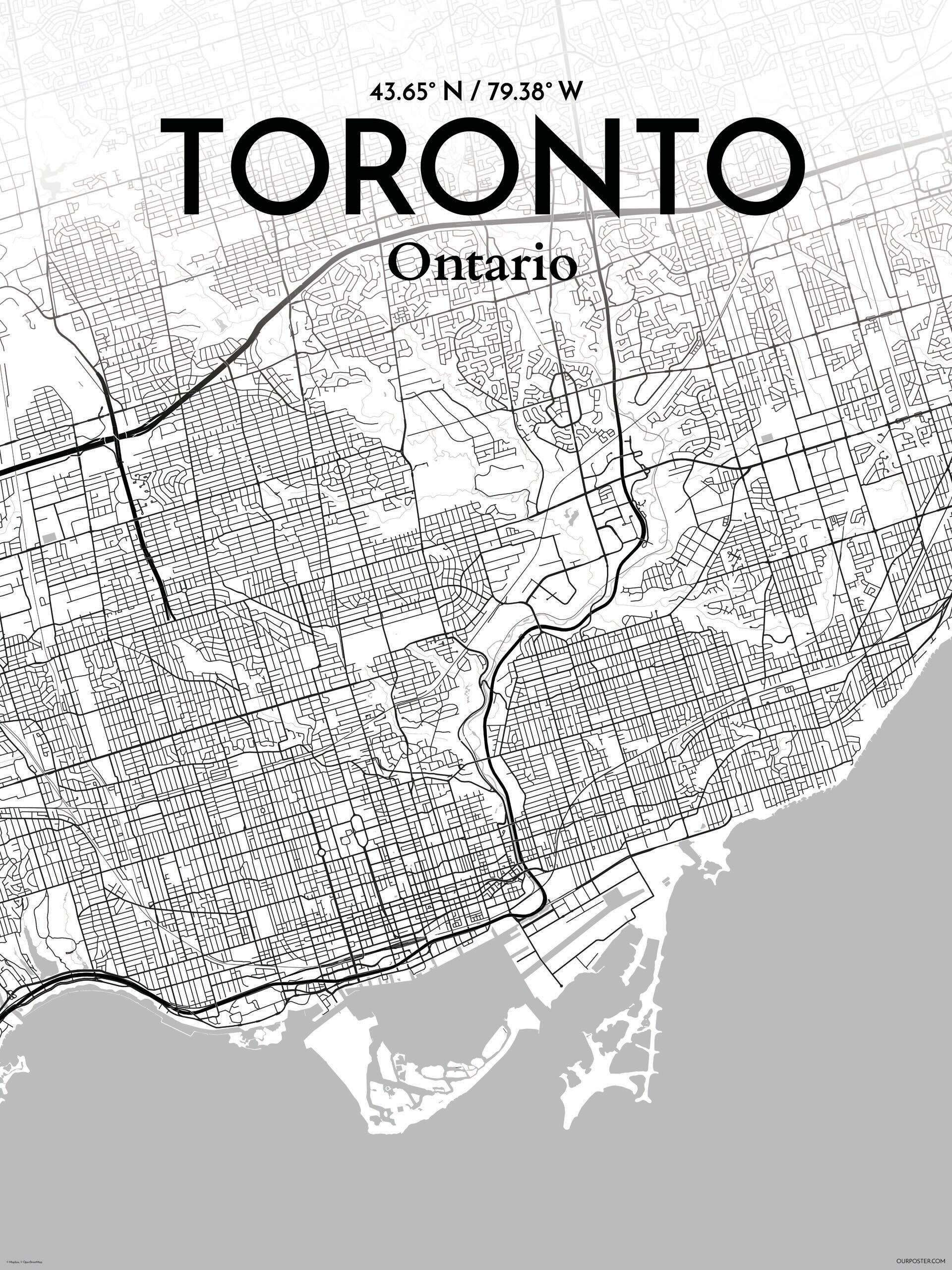 Ourposter toronto city map graphic art print poster in tones ourposter toronto city map graphic art print poster in tones wayfair gumiabroncs Choice Image