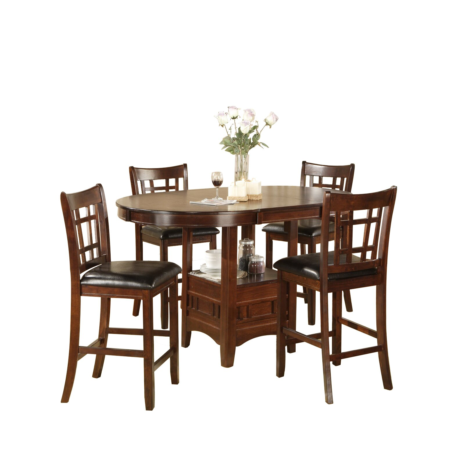 hazelwood home counter height dinette 5 piece set reviews wayfair
