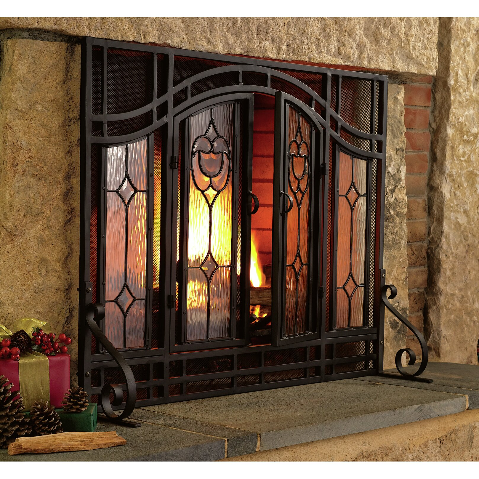 Plow & Hearth Single Panel Glass Fireplace Screen