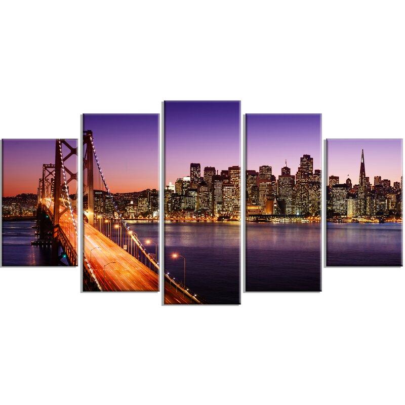 DesignArt \'San Francisco Skyline and Bay Bridge Sea Bridge\' 5 Piece ...