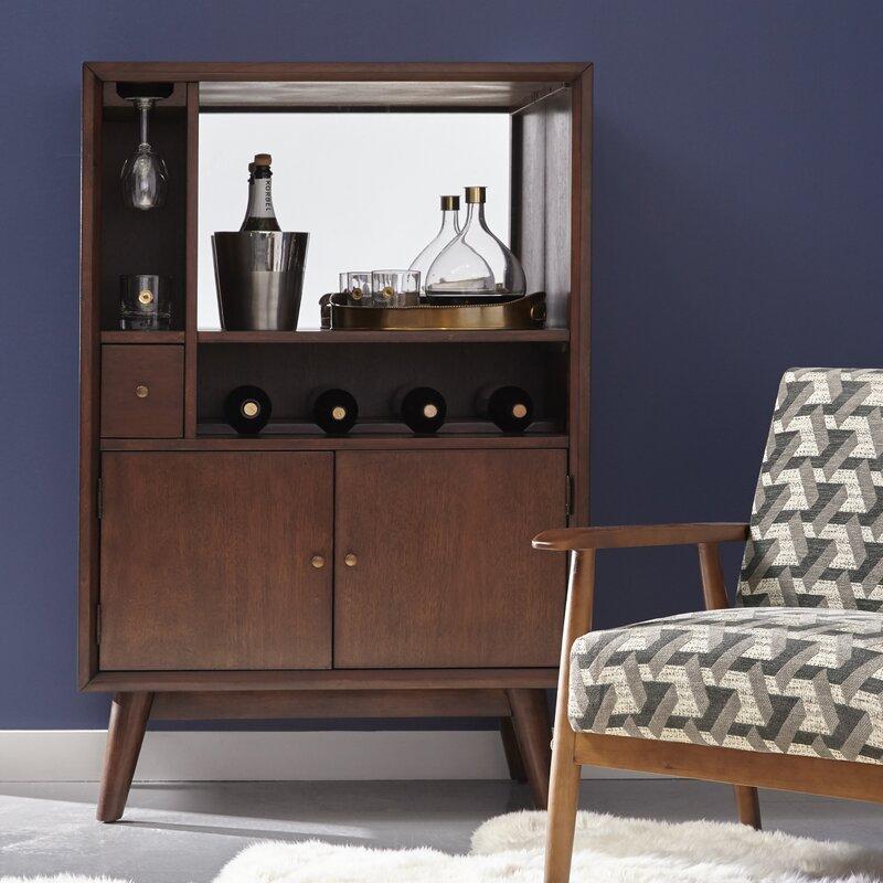 ripton midcentury modern mirrored 4 bottle floor wine cabinet