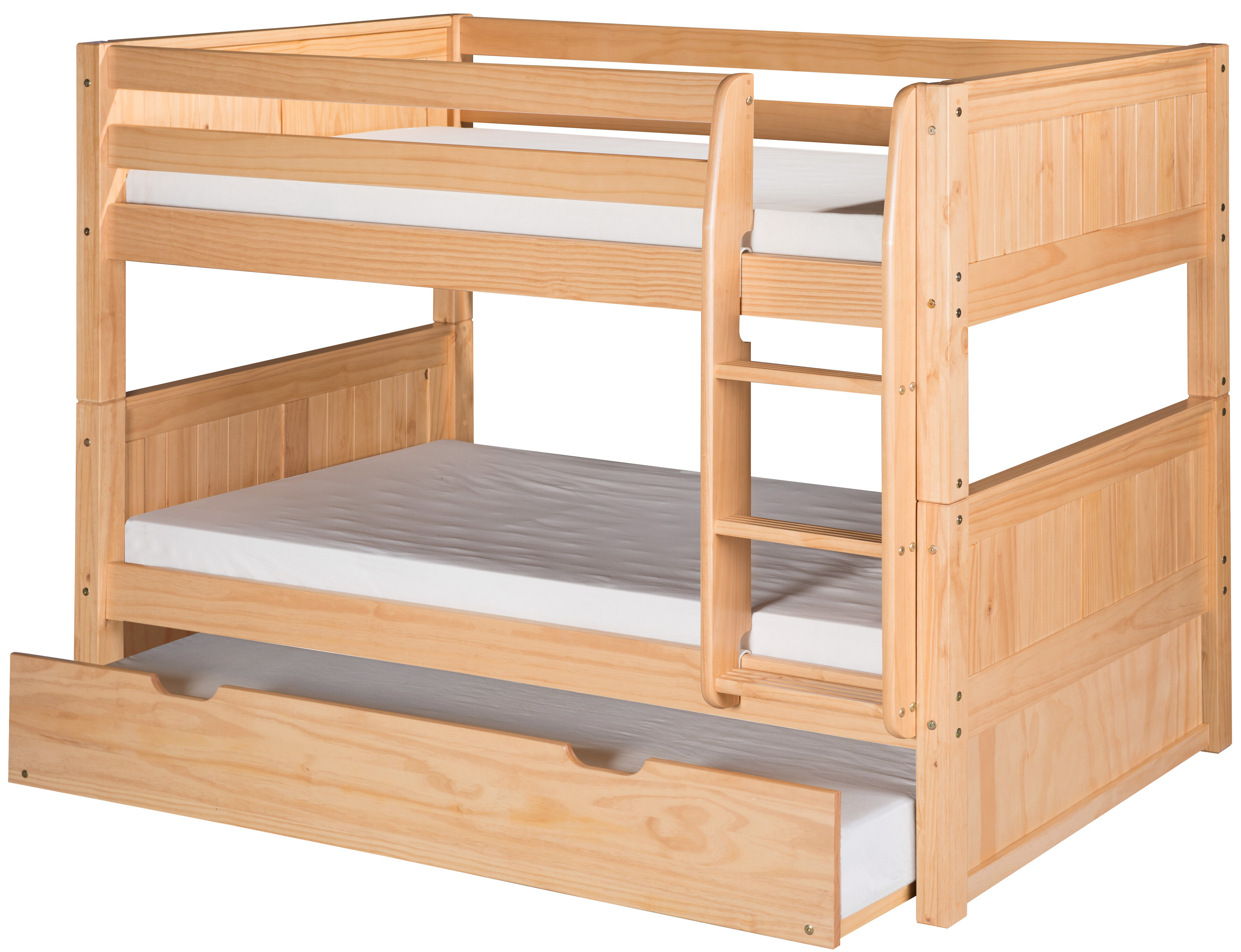 Mack Milo Oakwood Low Twin Over Twin Bunk Bed With Trundle