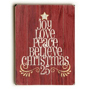 Joy Love Peace Tree Wooden Graphic Art Plaque