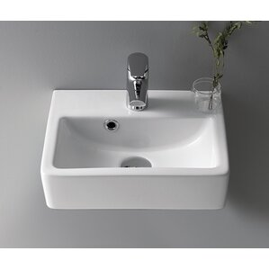 Mini Ceramic 15 Wall Mounted Bathroom Sink With Overflow