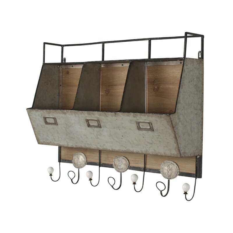 Attirant Arnica Rustic Wood And Metal Wall Storage Pockets With Coat Rack Hooks