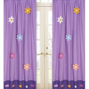 Danielle's Daisies Cotton Nature/Floral Semi-Sheer Rod Pocket Curtain Panels (Set of 2)