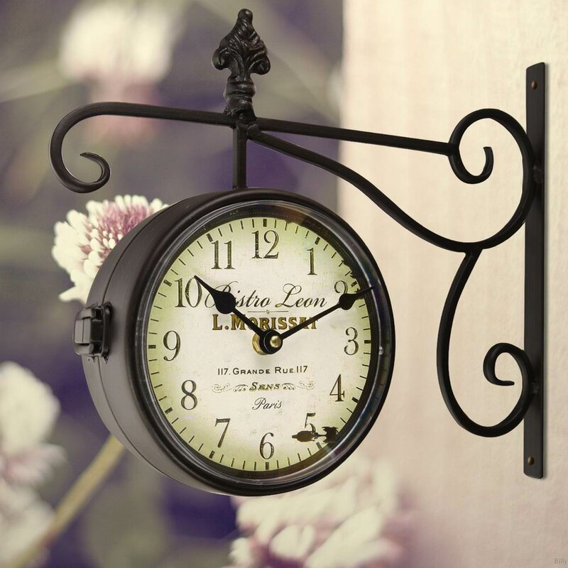 dutton round double sided wall hanging clock