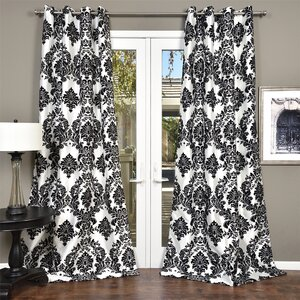 Venetian Damask Semi-Sheer Grommet Single Curtain Panel