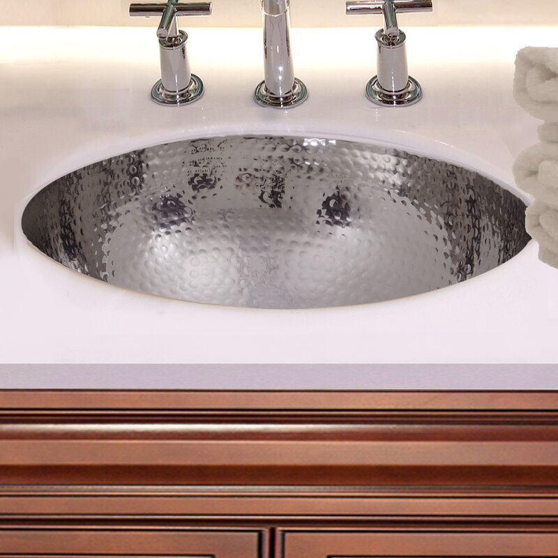 Wfbwc011220183 Hand Hammered Stainless Steel Circular Undermount Bathroom Sink With Overflow