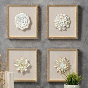 4 Piece Nadia Porcelain Flower Wall Décor Set