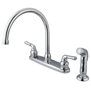 Magellan Double Handle Centerset Kitchen Faucet with Plastic Sprayer