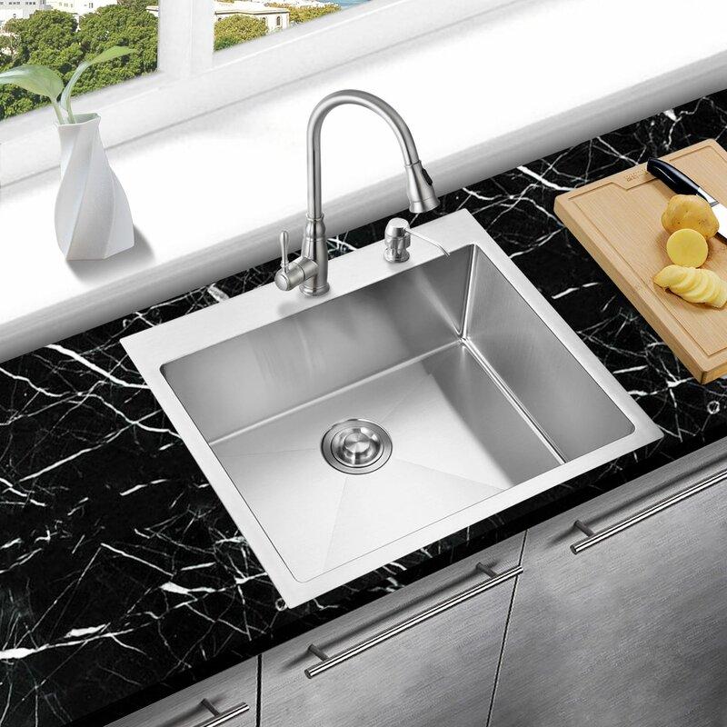 handmade 25   x 22   drop in kitchen sink with sink grid and drain mowa handmade 25   x 22   drop in kitchen sink with sink grid and      rh   wayfair com