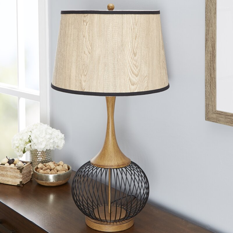 Bungalow rose rishi 23 table lamp with metal wire cage and faux rishi 23 table lamp with metal wire cage and faux wood shade keyboard keysfo Choice Image