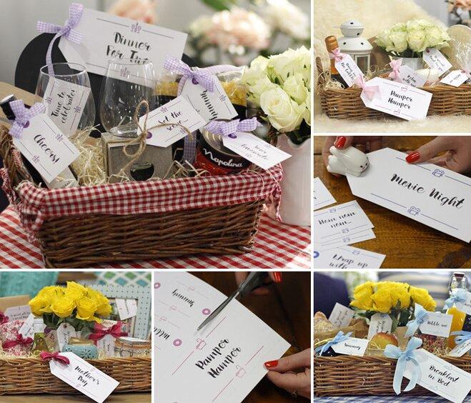 Diy hampers 10 free sets of printable gift tags wayfair a collage of diy gift hampers showcasing free printable gift tags negle Image collections