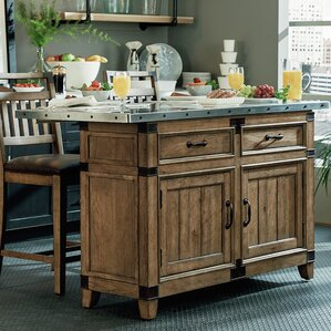 Brigadoon Kitchen Island with Stainless Steel Top by Loon Peak