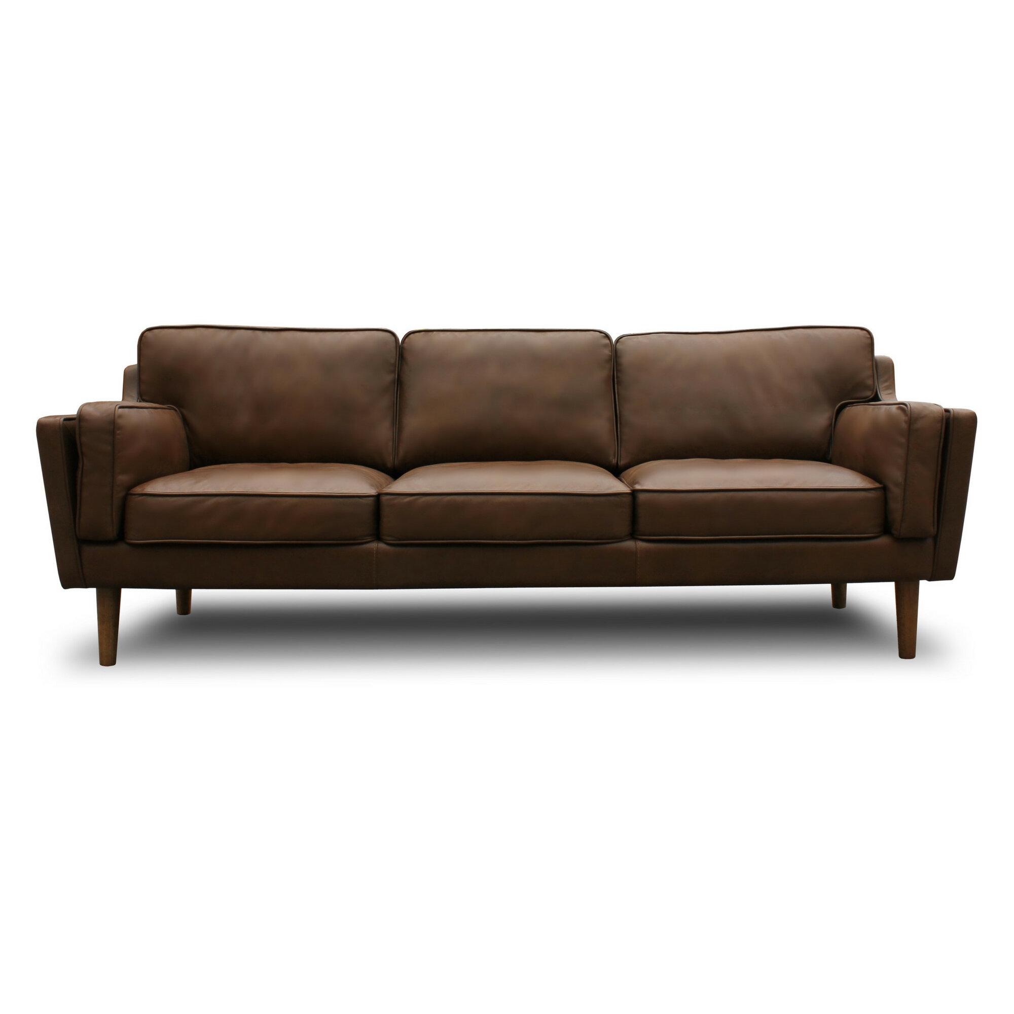 Modern Rustic Interiors Warren Mid Century Modern Leather Sofa