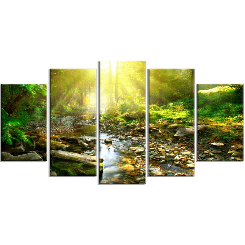 DesignArt 'Mountain Stream In Forest' 5 Piece Wall Art On