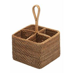rattan bottle and silverware caddy basket - Silverware Holder