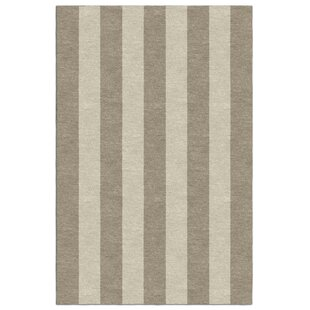 Check Prices Searle Stripe Hand-Tufted Wool Dark Silver/Beige Area Rug By Breakwater Bay