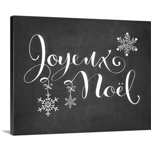 Christmas Art 'Joyeux Noel' by Amy Cummings Textual Art on Wrapped Canvas