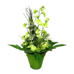 Amazing Tall Rose U0026 Sweetpea Floor Plant With Pot In Green