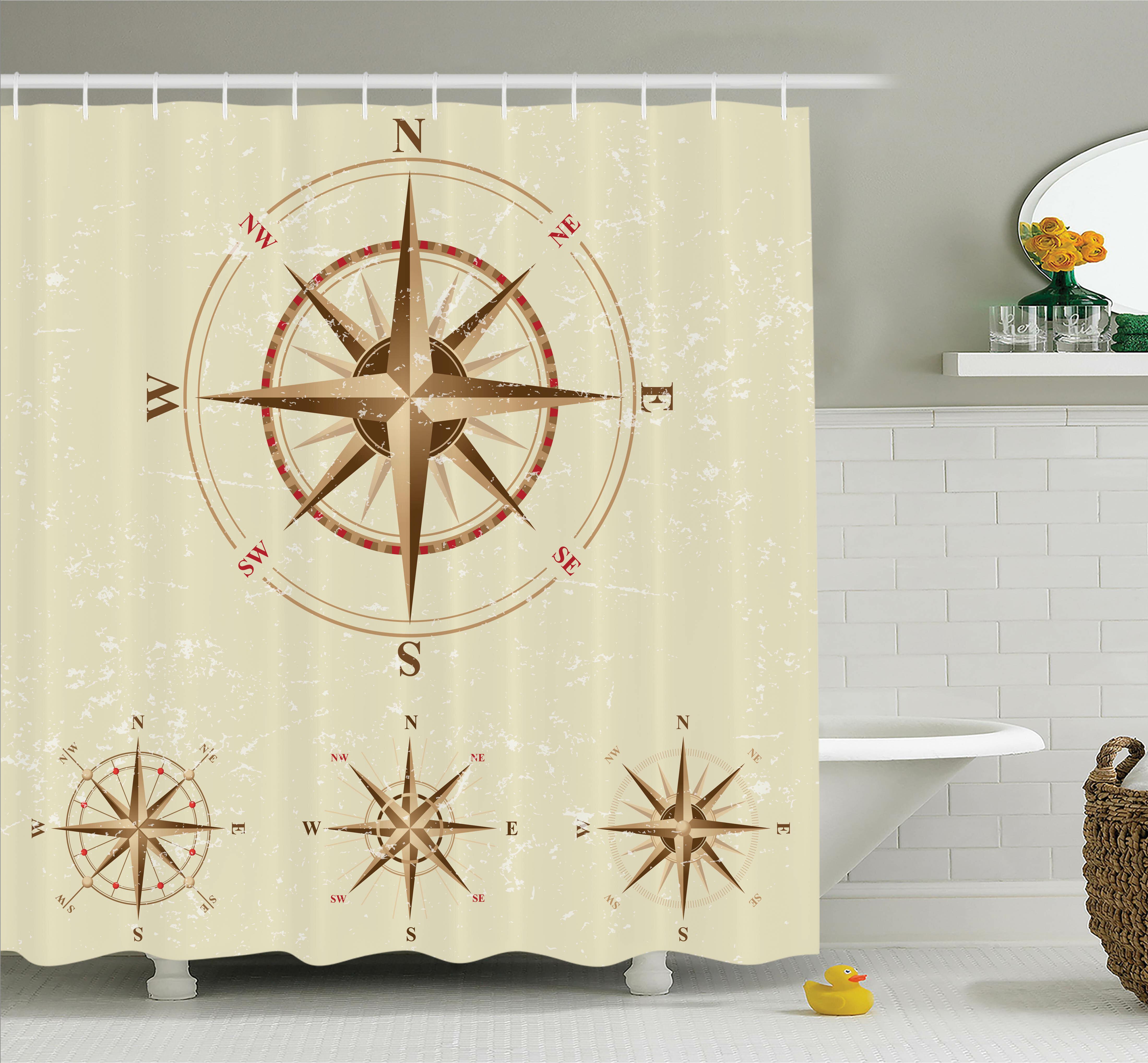 Longshore Tides Hoffman Compass Nautical Retro Shower Curtain Set