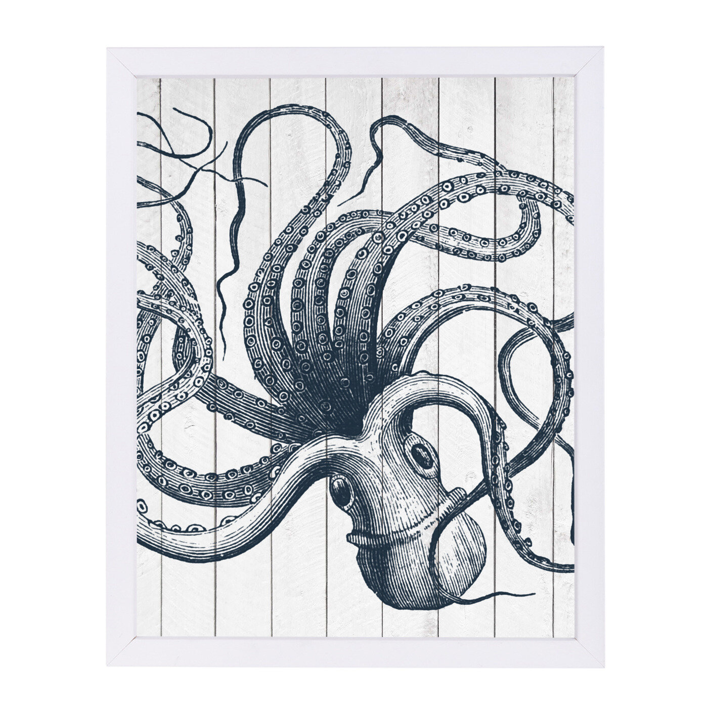 Wood Octopus Framed Graphic Art Print