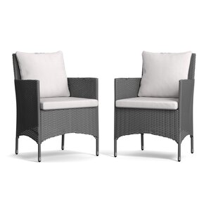 Ellie Patio Dining Chair with Cushion (Set of 2)