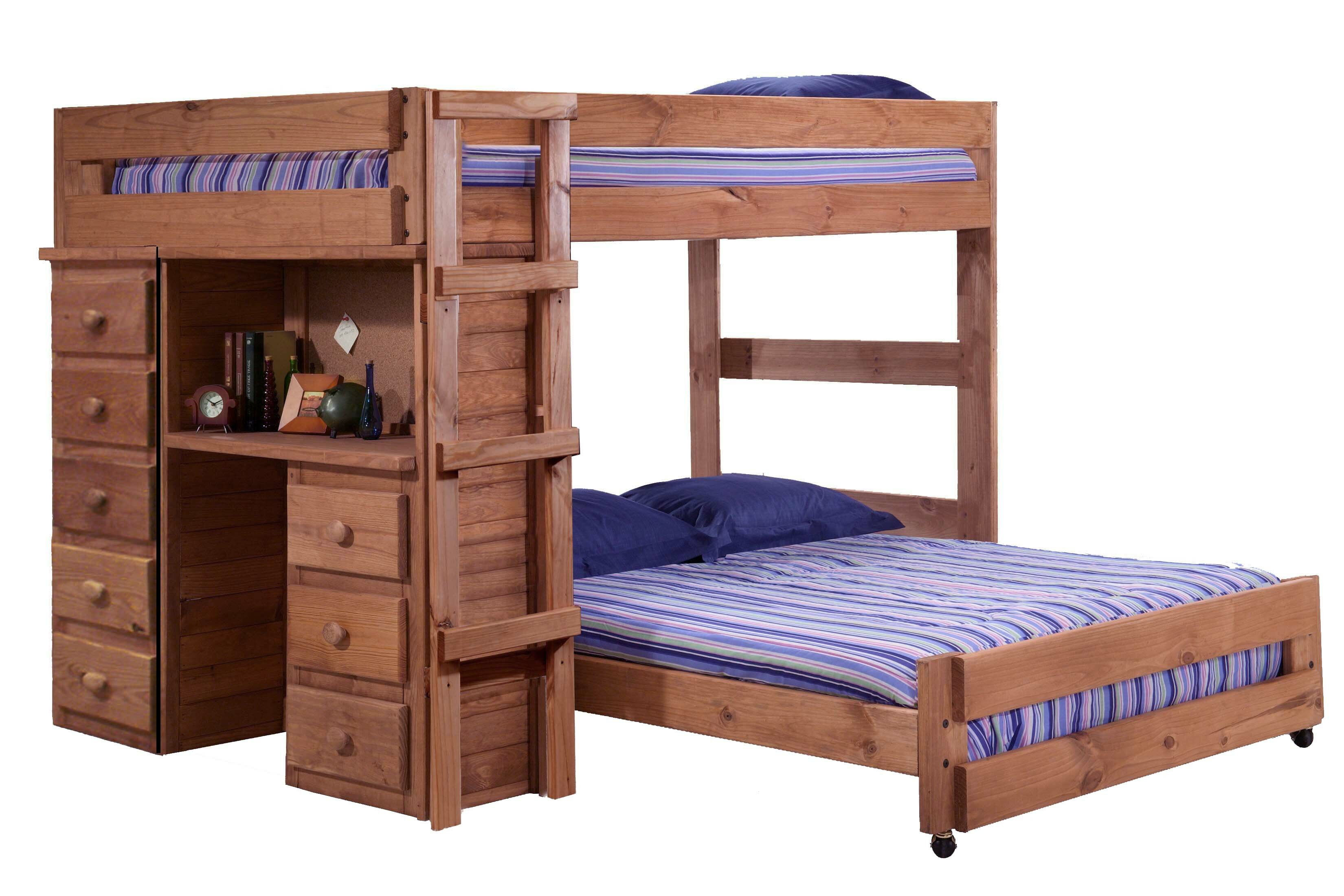 Harriet Bee Choe Full Over Full L Shaped Bunk Bed With Desk And