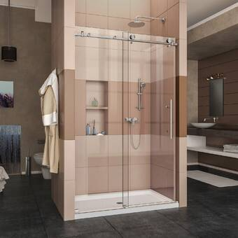 Frameless Shower Doors.58 X 78 Hinged Frameless Shower Door Reviews Allmodern