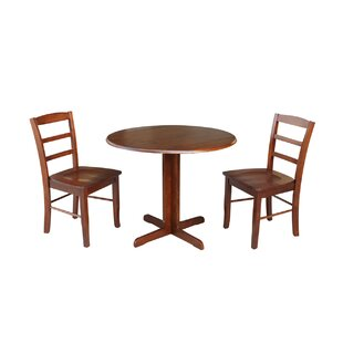 Ingrassia Dual Drop Leaf 3 Piece Solid Wood Dining Set