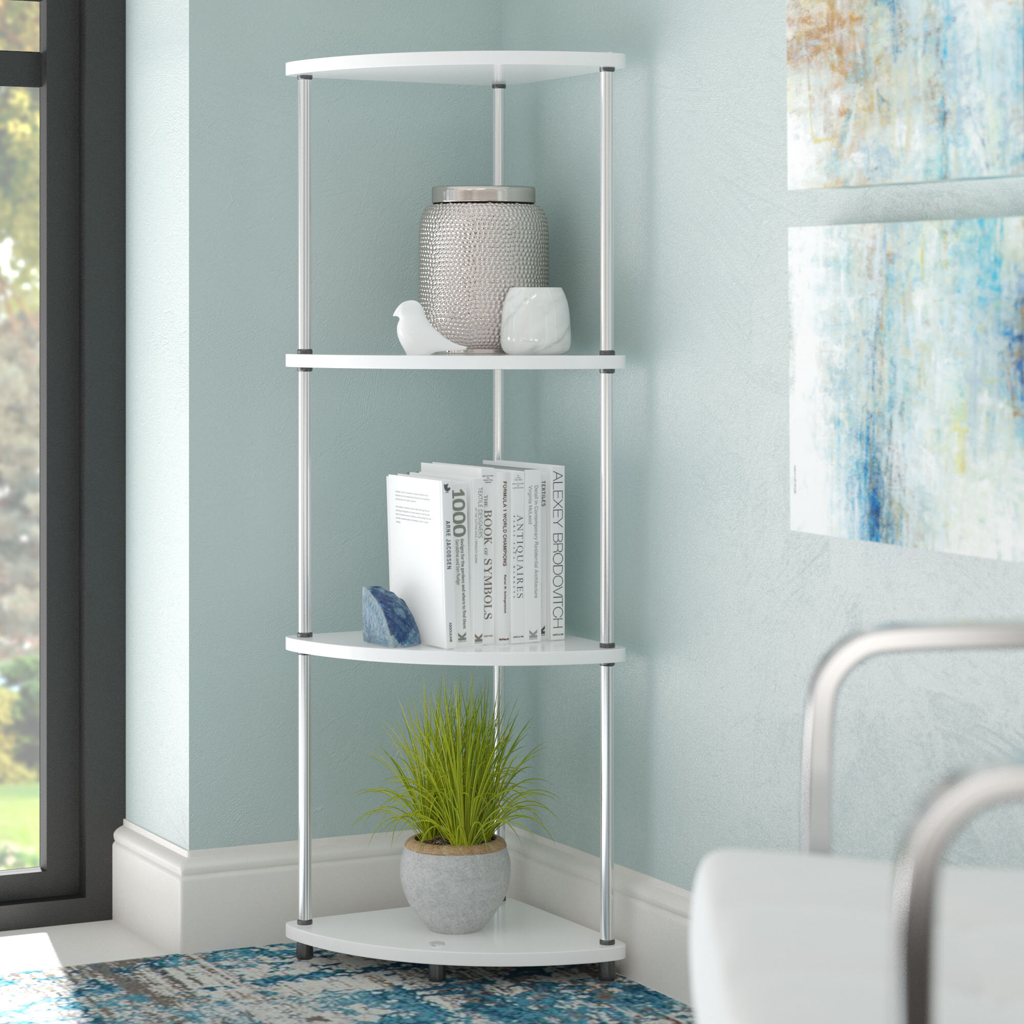Zipcode Design Nova 4 Tier Corner Unit Bookcase & Reviews | Wayfair