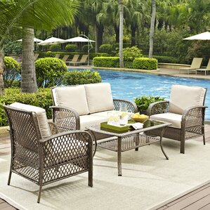 niceville 4 piece deep seating group with cushion - Resin Wicker Patio Furniture