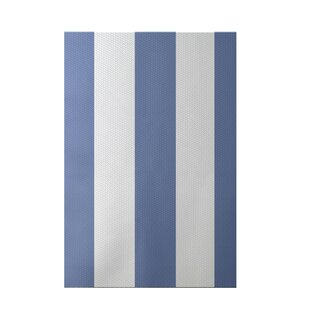 Read Reviews Caymen Stripe Print Cornflower Indoor/Outdoor Area Rug By Breakwater Bay